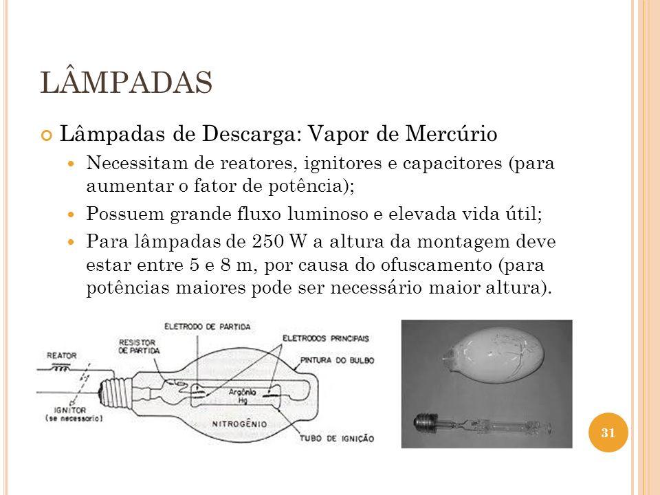 LÂMPADAS Lâmpadas de Descarga: Vapor de Mercúrio Necessitam de reatores, ignitores e capacitores (para aumentar o fator de potência); Possuem grande f