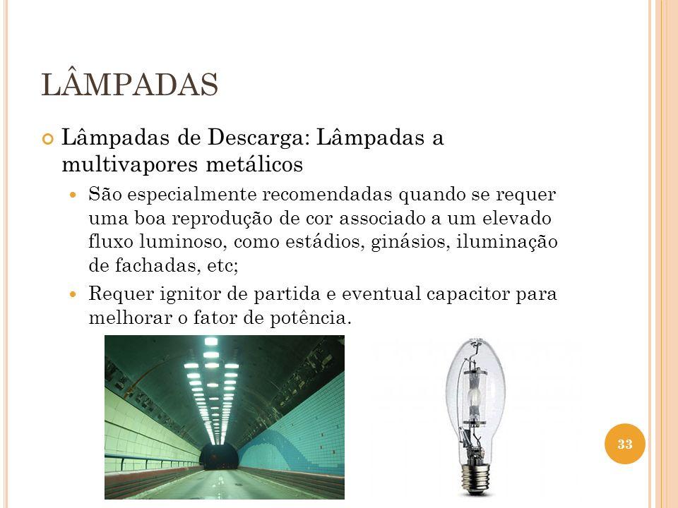 LÂMPADAS Lâmpadas de Descarga: Lâmpadas a multivapores metálicos São especialmente recomendadas quando se requer uma boa reprodução de cor associado a