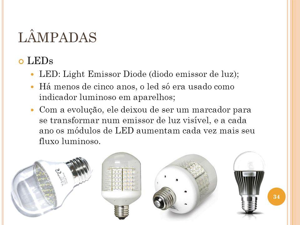 LÂMPADAS LEDs LED: Light Emissor Diode (diodo emissor de luz); Há menos de cinco anos, o led só era usado como indicador luminoso em aparelhos; Com a