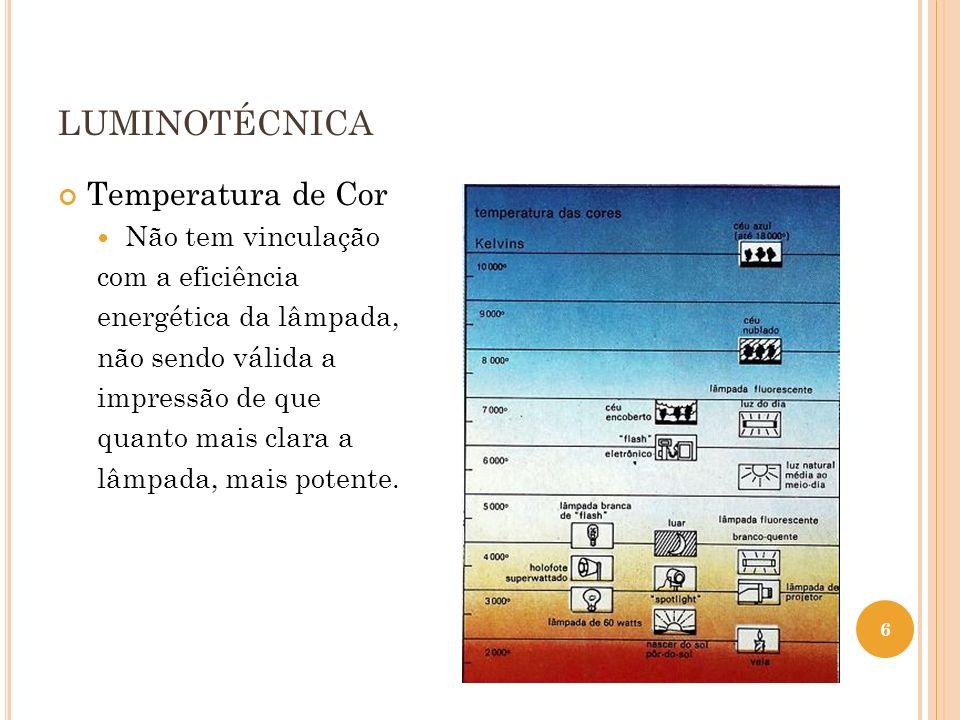 LUMINOTÉCNICA Temperatura de Cor Não tem vinculação com a eficiência energética da lâmpada, não sendo válida a impressão de que quanto mais clara a lâ