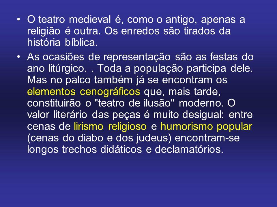 O teatro medieval é, como o antigo, apenas a religião é outra. Os enredos são tirados da história bíblica. As ocasiões de representação são as festas