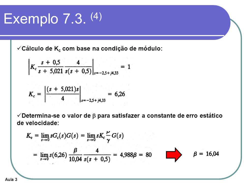 Aula 3 Exemplo 7.3. (4) Cálculo de K c com base na condição de módulo: Determina-se o valor de para satisfazer a constante de erro estático de velocid