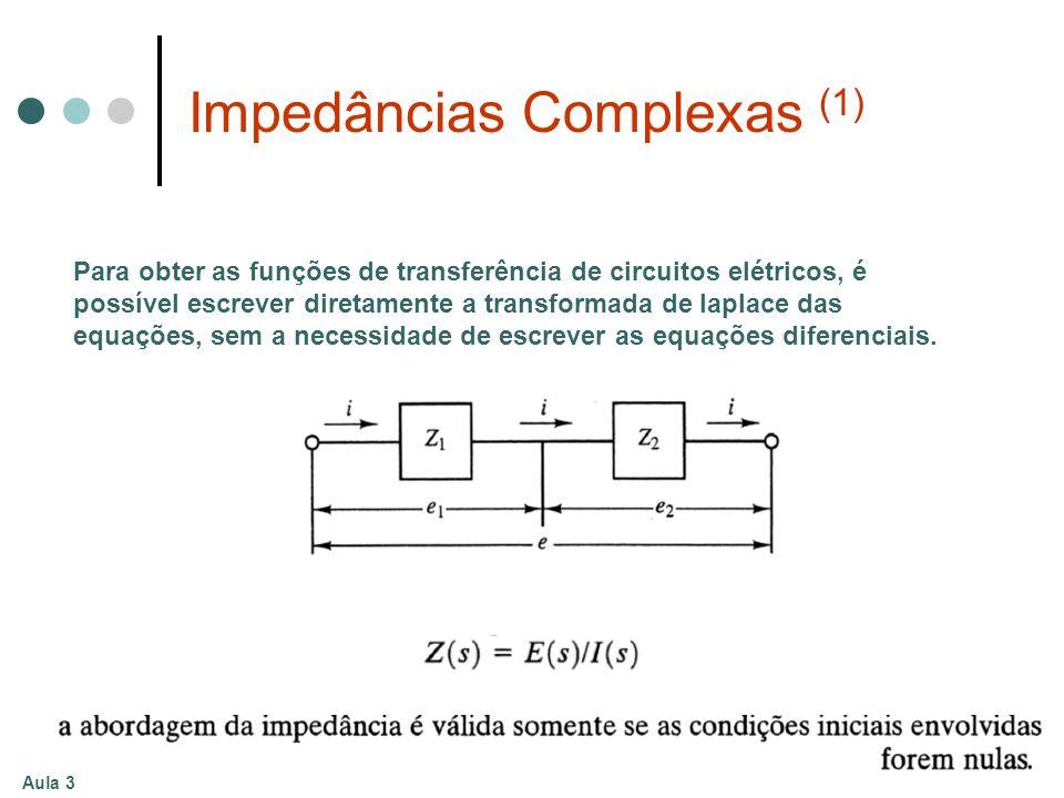 Aula 3 Impedâncias Complexas (1) Para obter as funções de transferência de circuitos elétricos, é possível escrever diretamente a transformada de lapl