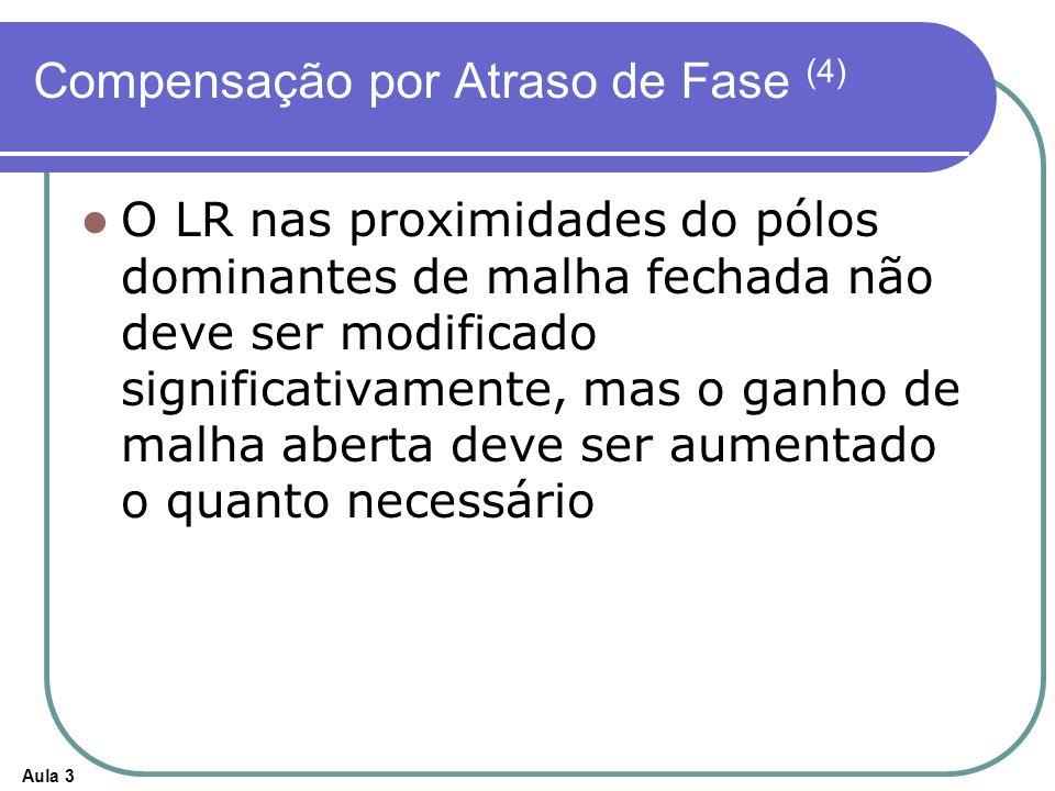 Aula 3 Compensação por Atraso de Fase (4) O LR nas proximidades do pólos dominantes de malha fechada não deve ser modificado significativamente, mas o