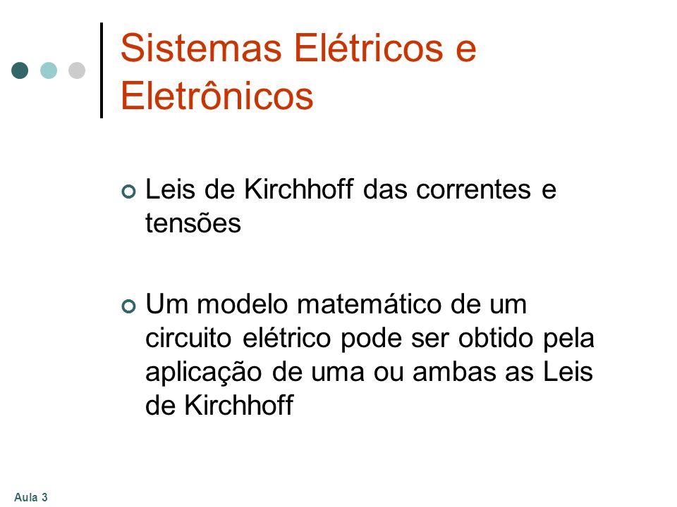 Aula 3 Sistemas Elétricos e Eletrônicos Leis de Kirchhoff das correntes e tensões Um modelo matemático de um circuito elétrico pode ser obtido pela ap