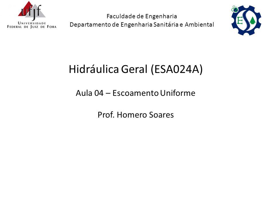 Hidráulica Geral (ESA024A) Aula 04 – Escoamento Uniforme Prof. Homero Soares Faculdade de Engenharia Departamento de Engenharia Sanitária e Ambiental