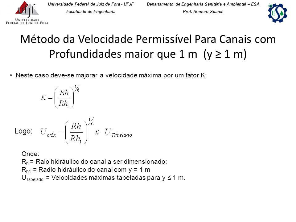 Método da Velocidade Permissível Para Canais com Profundidades maior que 1 m (y 1 m) Universidade Federal de Juiz de Fora - UFJF Faculdade de Engenhar