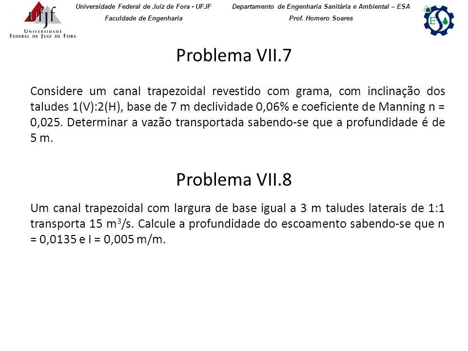 Problema VII.7 Universidade Federal de Juiz de Fora - UFJF Faculdade de Engenharia Departamento de Engenharia Sanitária e Ambiental – ESA Prof. Homero