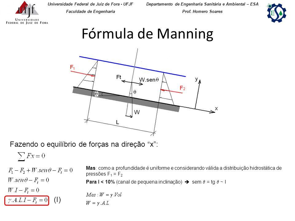 Fórmula de Manning (Continuação) Universidade Federal de Juiz de Fora - UFJF Faculdade de Engenharia Departamento de Engenharia Sanitária e Ambiental – ESA Prof.