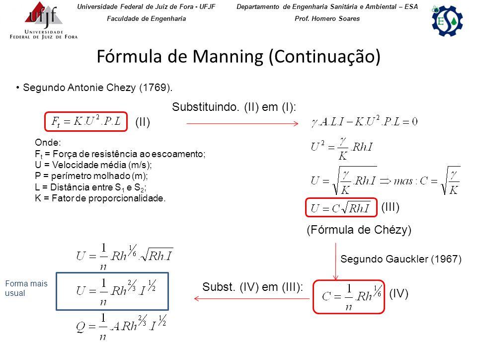 Fórmula de Manning (Continuação) Universidade Federal de Juiz de Fora - UFJF Faculdade de Engenharia Departamento de Engenharia Sanitária e Ambiental