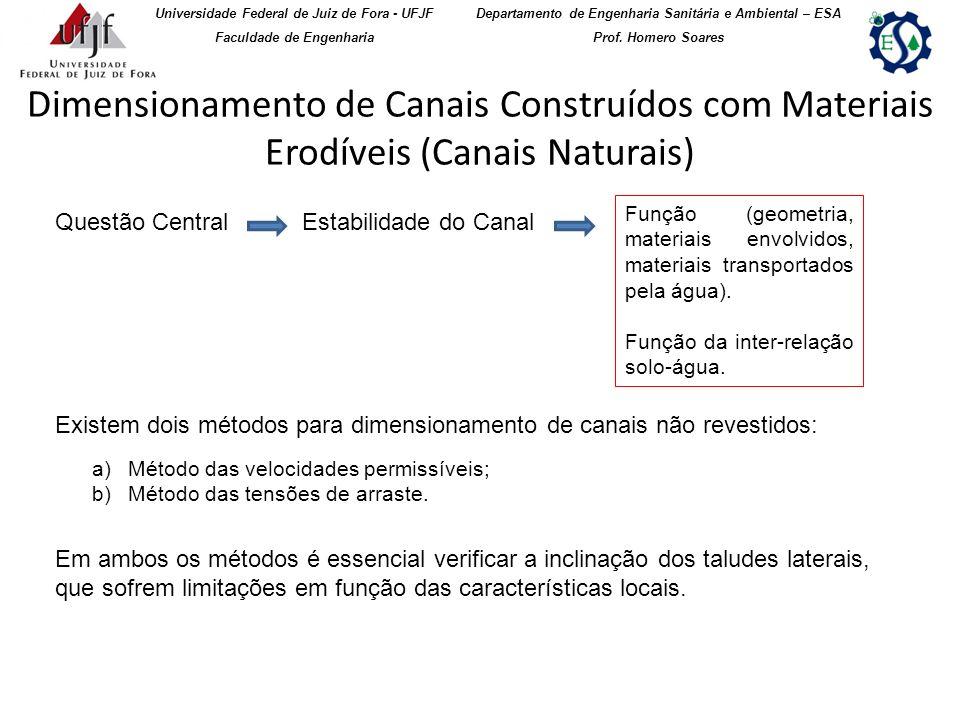 Dimensionamento de Canais Construídos com Materiais Erodíveis (Canais Naturais) Universidade Federal de Juiz de Fora - UFJF Faculdade de Engenharia De