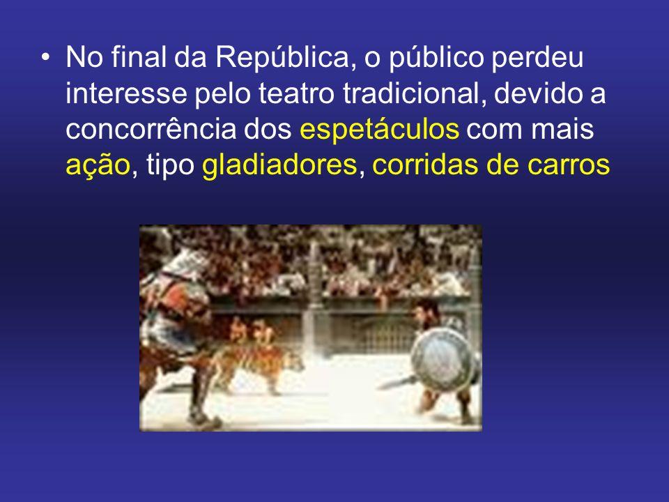 No final da República, o público perdeu interesse pelo teatro tradicional, devido a concorrência dos espetáculos com mais ação, tipo gladiadores, corridas de carros