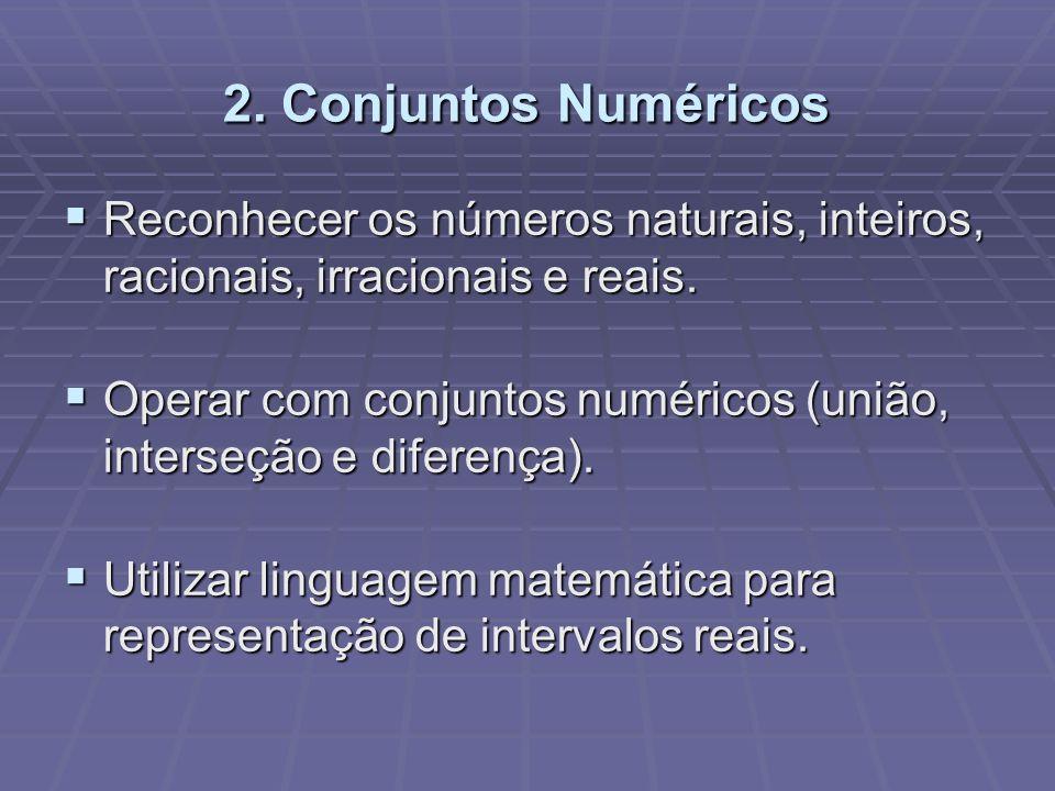 2. Conjuntos Numéricos Reconhecer os números naturais, inteiros, racionais, irracionais e reais. Reconhecer os números naturais, inteiros, racionais,