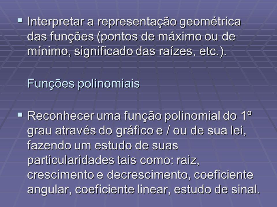 Interpretar a representação geométrica das funções (pontos de máximo ou de mínimo, significado das raízes, etc.). Interpretar a representação geométri