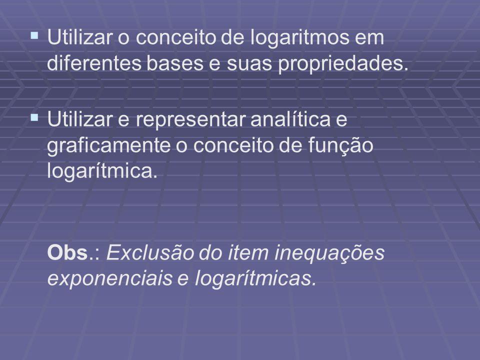 Utilizar o conceito de logaritmos em diferentes bases e suas propriedades. Utilizar e representar analítica e graficamente o conceito de função logarí