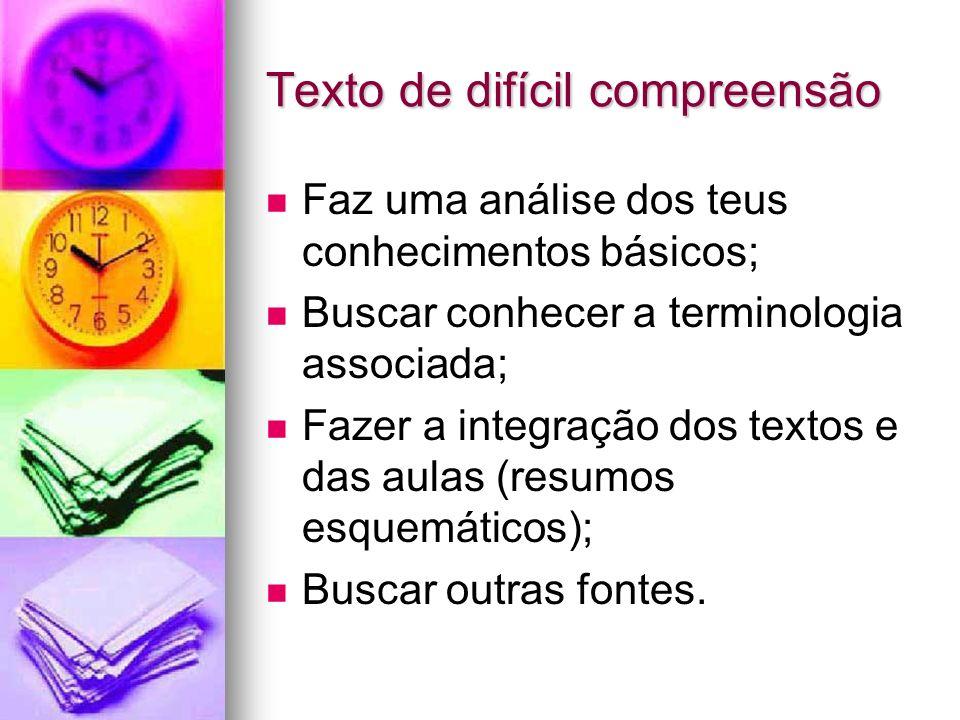 Texto de difícil compreensão Faz uma análise dos teus conhecimentos básicos; Buscar conhecer a terminologia associada; Fazer a integração dos textos e