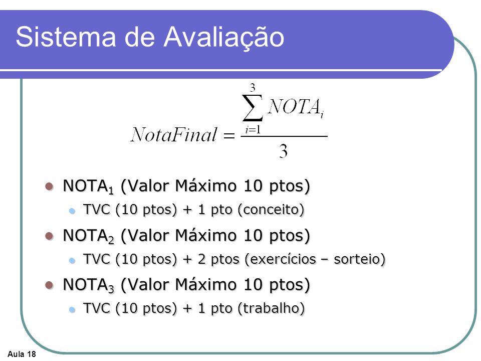 Aula 18 Sistema de Avaliação NOTA 1 (Valor Máximo 10 ptos) NOTA 1 (Valor Máximo 10 ptos) TVC (10 ptos) + 1 pto (conceito) TVC (10 ptos) + 1 pto (conce