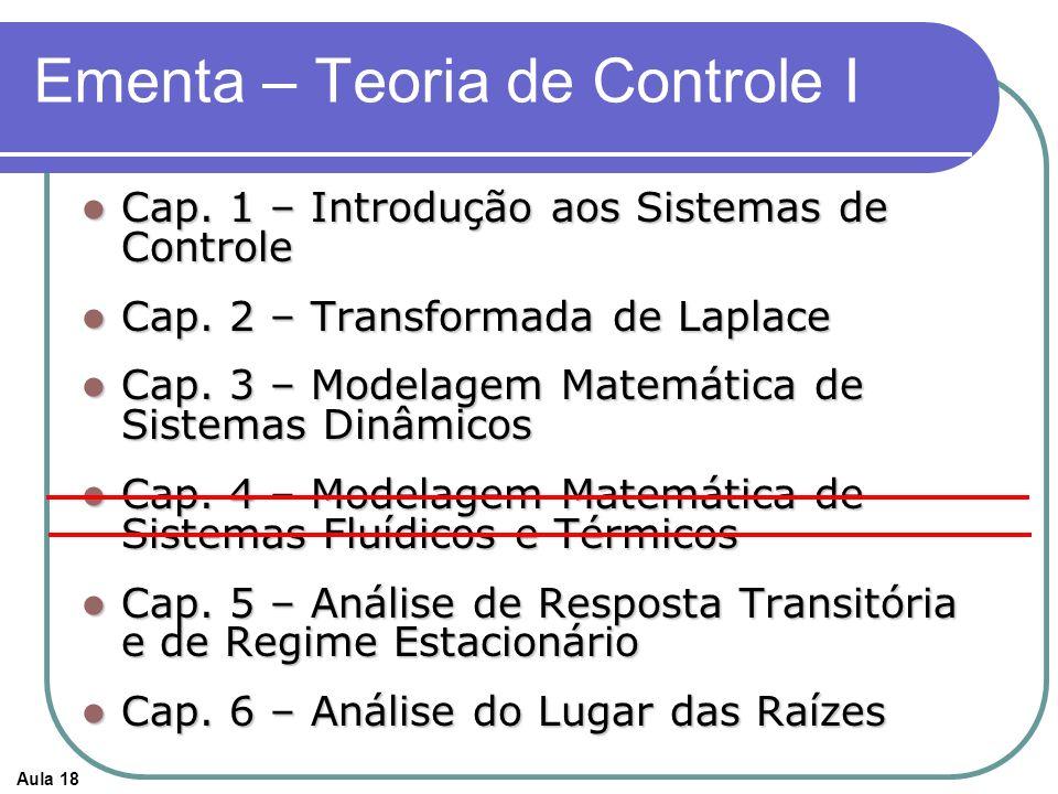 Aula 18 Ementa – Teoria de Controle I Cap. 1 – Introdução aos Sistemas de Controle Cap. 1 – Introdução aos Sistemas de Controle Cap. 2 – Transformada