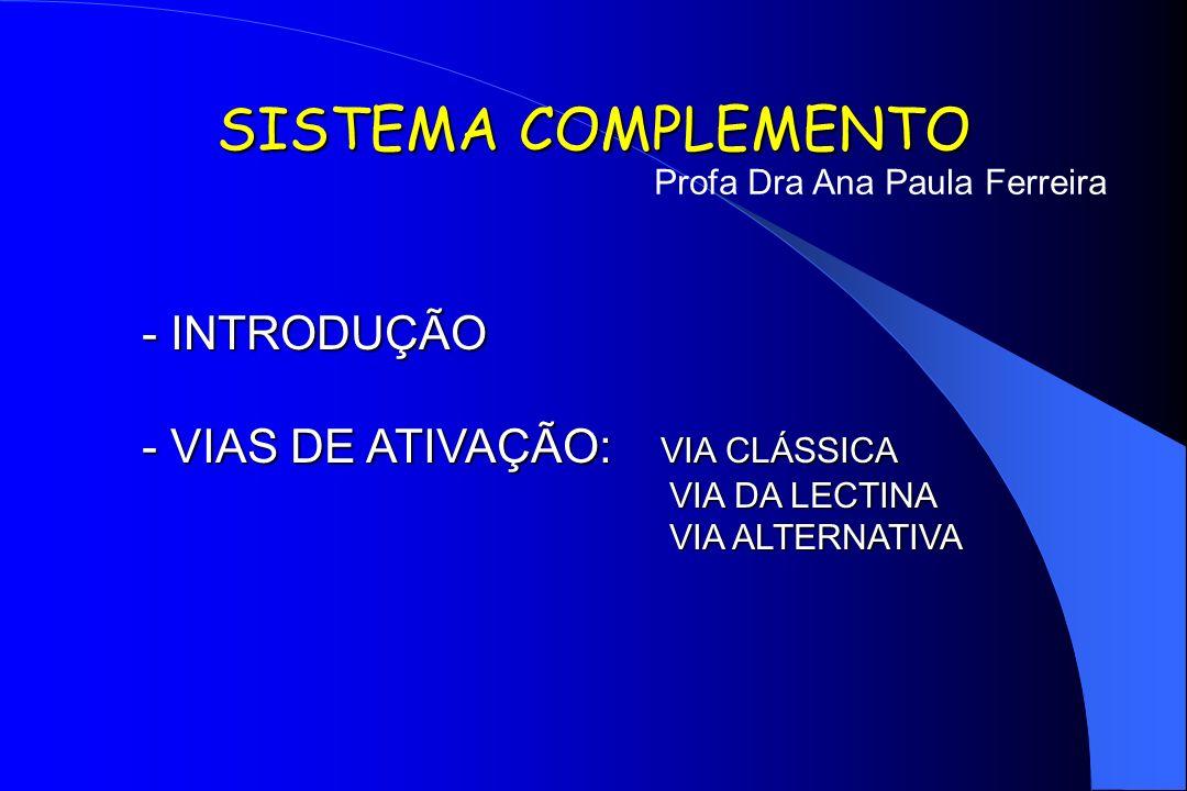 SISTEMA COMPLEMENTO - INTRODUÇÃO - VIAS DE ATIVAÇÃO: VIA CLÁSSICA VIA DA LECTINA VIA DA LECTINA VIA ALTERNATIVA Profa Dra Ana Paula Ferreira
