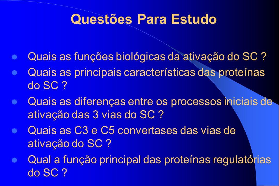 Questões Para Estudo Quais as funções biológicas da ativação do SC ? Quais as principais características das proteínas do SC ? Quais as diferenças ent