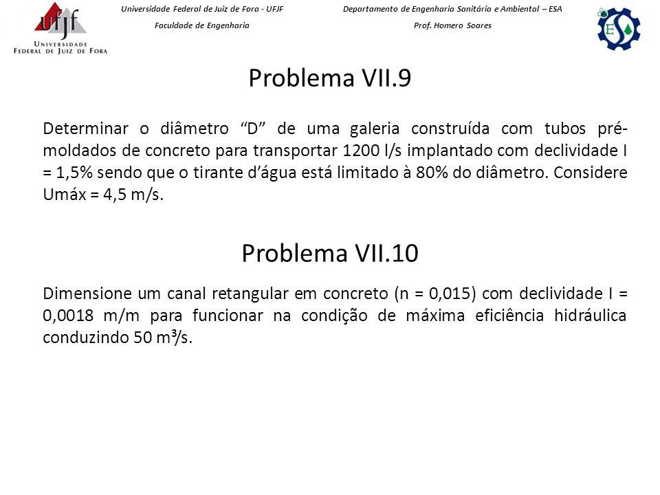 Problema VII.9 Universidade Federal de Juiz de Fora - UFJF Faculdade de Engenharia Departamento de Engenharia Sanitária e Ambiental – ESA Prof.
