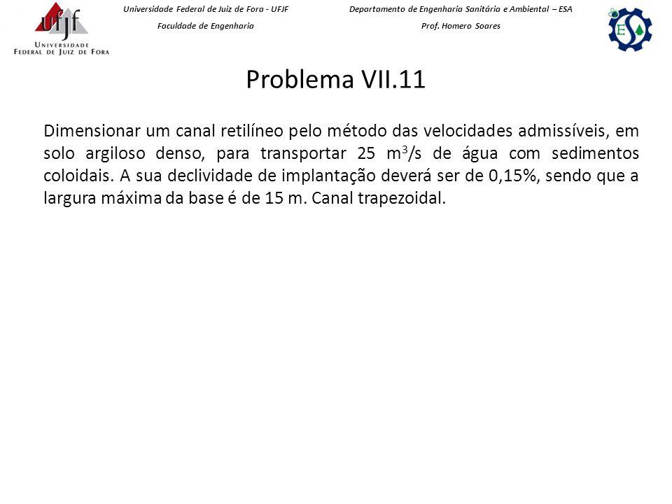 Problema VII.11 Universidade Federal de Juiz de Fora - UFJF Faculdade de Engenharia Departamento de Engenharia Sanitária e Ambiental – ESA Prof.