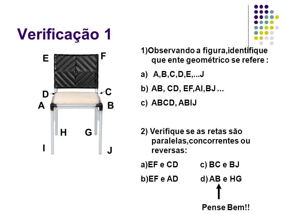 Verificação 1 AB C D E F GH I J 1)Observando a figura,identifique que ente geométrico se refere : a) A,B,C,D,E,...J b)AB, CD, EF,AI,BJ... c)ABCD, ABIJ