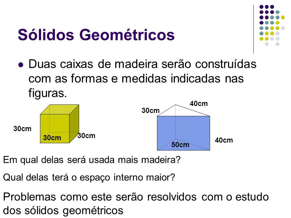Sólidos Geométricos Duas caixas de madeira serão construídas com as formas e medidas indicadas nas figuras. 30cm 50cm 40cm 30cm Em qual delas será usa