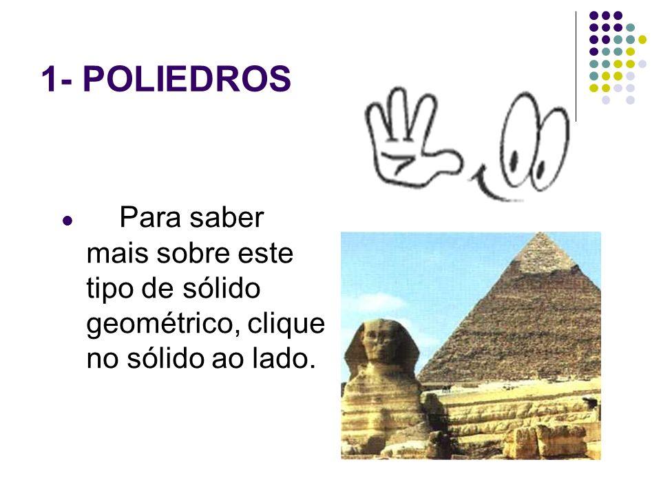 1- POLIEDROS Para saber mais sobre este tipo de sólido geométrico, clique no sólido ao lado.