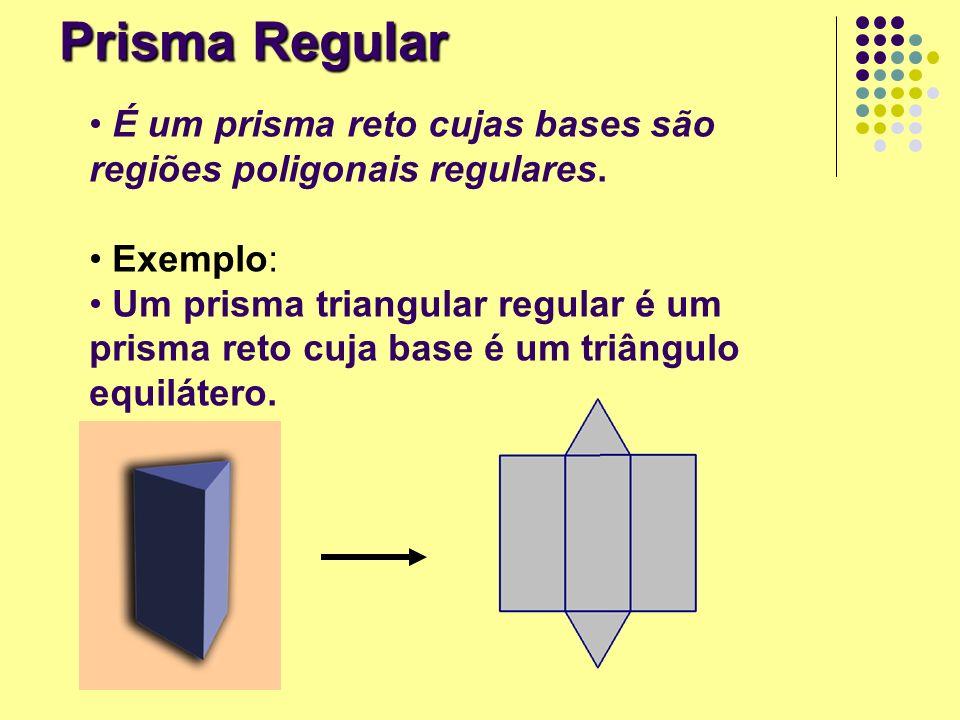 Prisma Regular É um prisma reto cujas bases são regiões poligonais regulares. Exemplo: Um prisma triangular regular é um prisma reto cuja base é um tr
