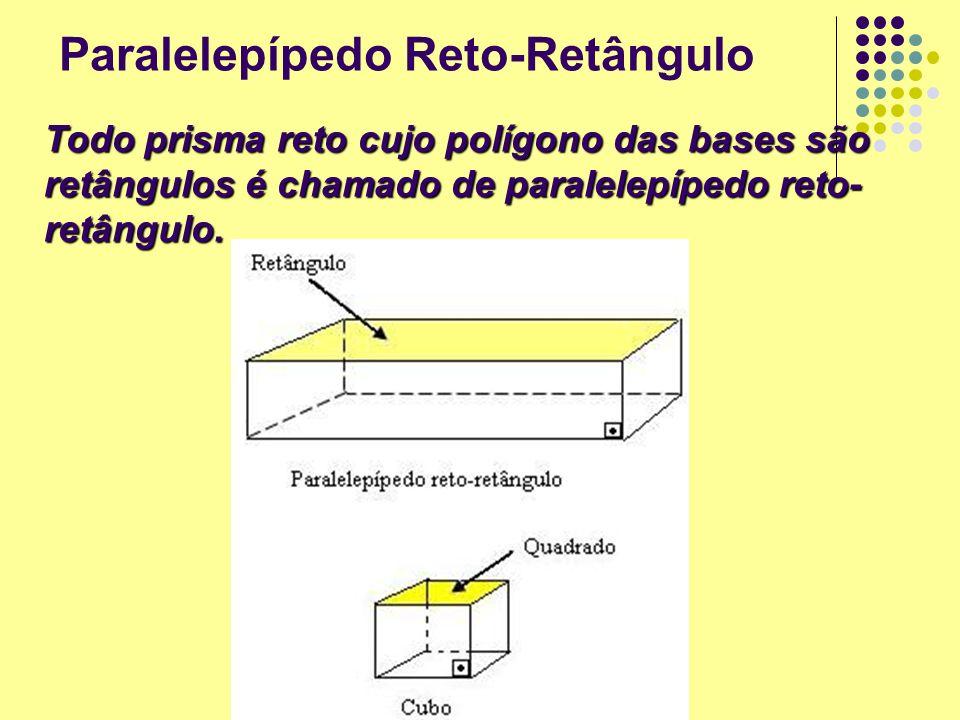 Paralelepípedo Reto-Retângulo Todo prisma reto cujo polígono das bases são retângulos é chamado de paralelepípedo reto- retângulo.