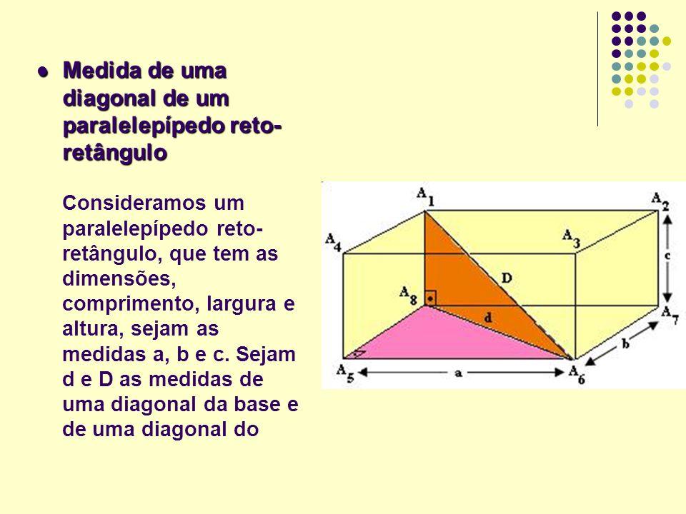 Medida de uma diagonal de um paralelepípedo reto- retângulo Medida de uma diagonal de um paralelepípedo reto- retângulo Consideramos um paralelepípedo