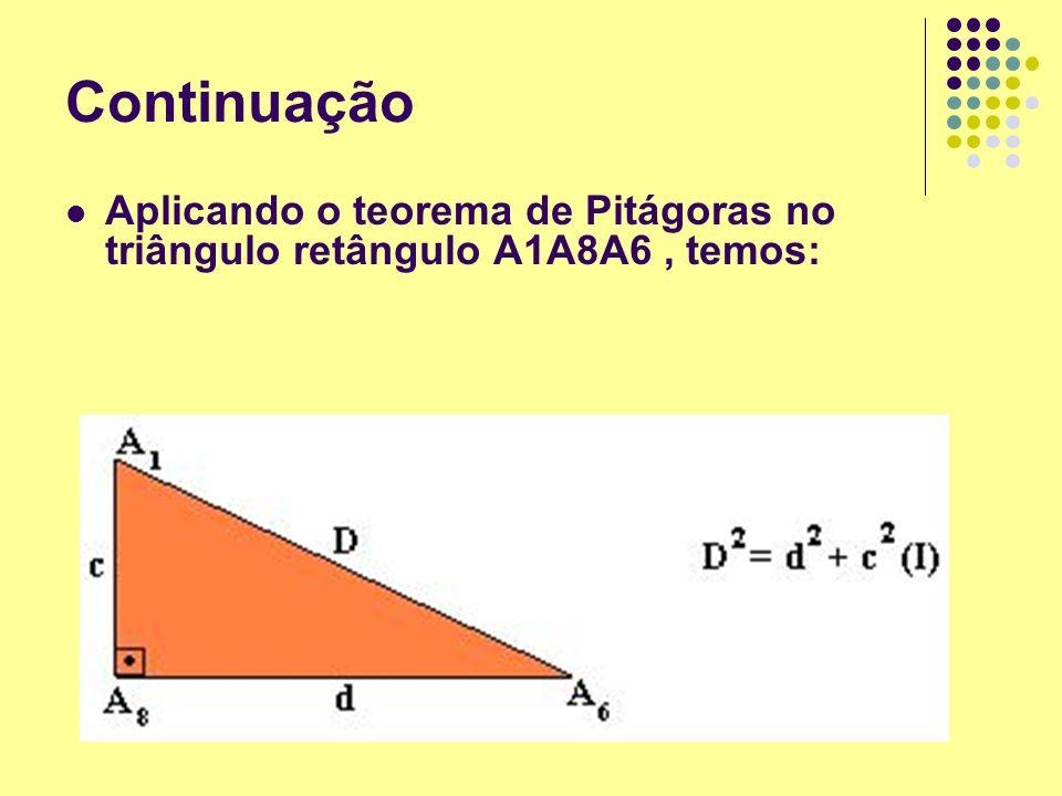 Continuação Aplicando o teorema de Pitágoras no triângulo retângulo A1A8A6, temos: