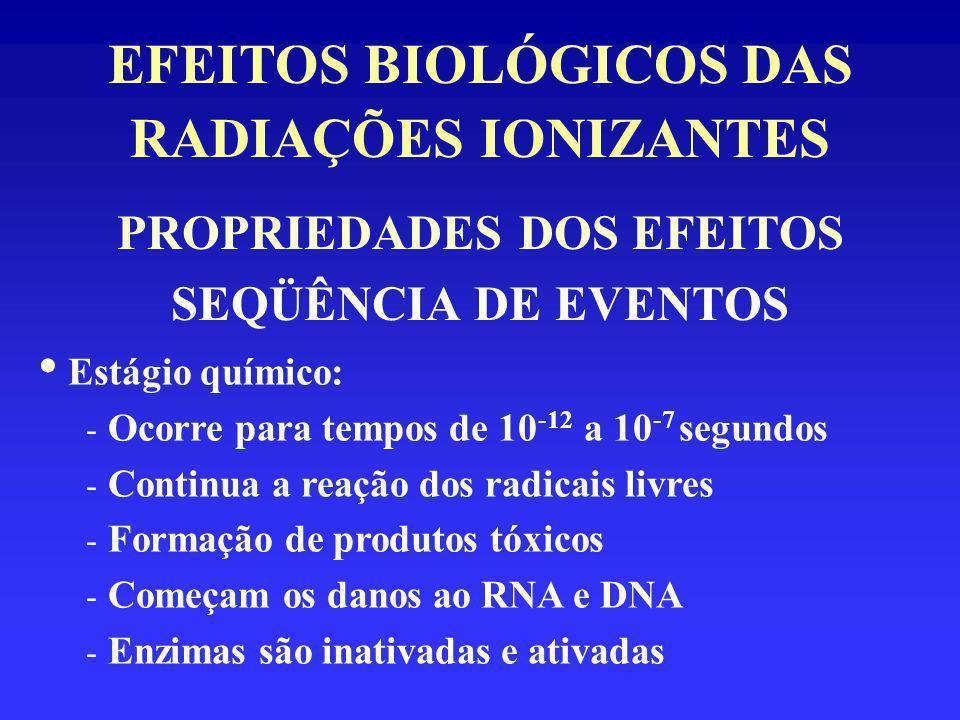 EFEITOS BIOLÓGICOS DAS RADIAÇÕES IONIZANTES PROPRIEDADES DOS EFEITOS SEQÜÊNCIA DE EVENTOS Estágio químico: - Ocorre para tempos de 10 -12 a 10 -7 segu