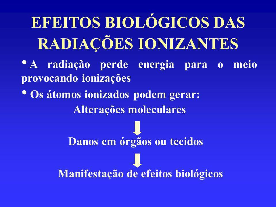 EFEITOS BIOLÓGICOS DAS RADIAÇÕES IONIZANTES Possibilidades da radiação incidindo em uma célula: Passar sem interagir Atingir uma molécula: Não produzir dano Produzir dano MECANISMOS DE AÇÃO