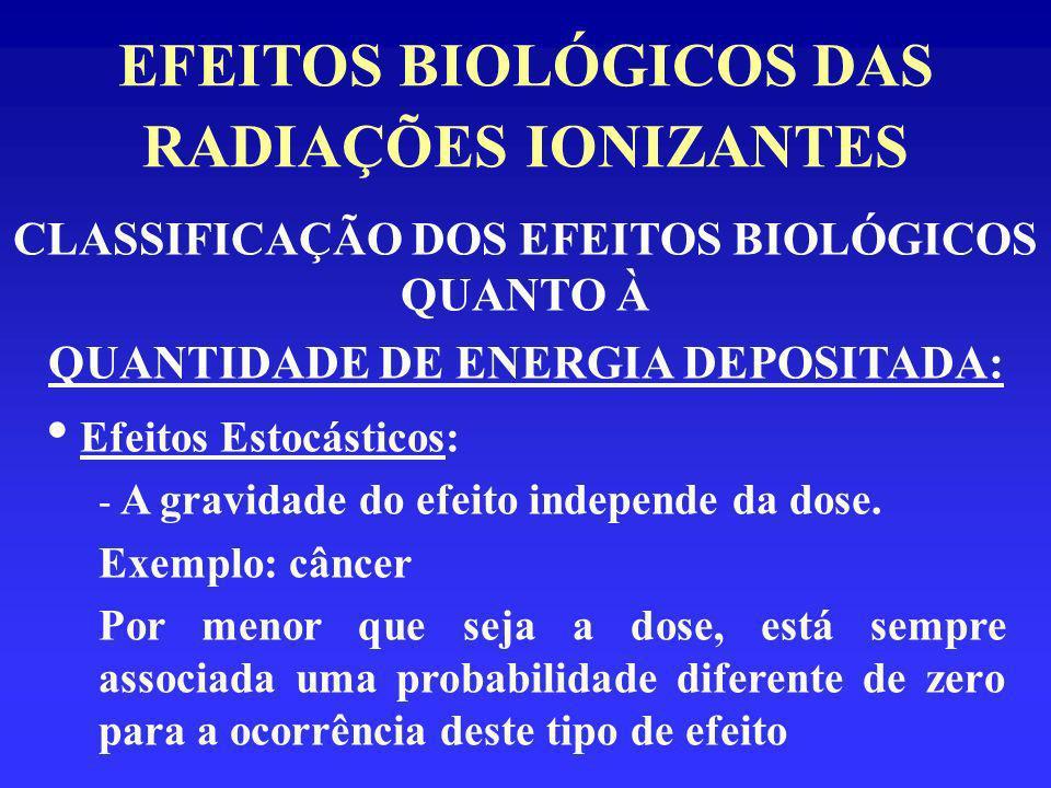 EFEITOS BIOLÓGICOS DAS RADIAÇÕES IONIZANTES CLASSIFICAÇÃO DOS EFEITOS BIOLÓGICOS QUANTO À QUANTIDADE DE ENERGIA DEPOSITADA: Efeitos Estocásticos: - A