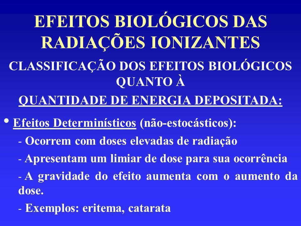 EFEITOS BIOLÓGICOS DAS RADIAÇÕES IONIZANTES CLASSIFICAÇÃO DOS EFEITOS BIOLÓGICOS QUANTO À QUANTIDADE DE ENERGIA DEPOSITADA: Efeitos Determinísticos (n