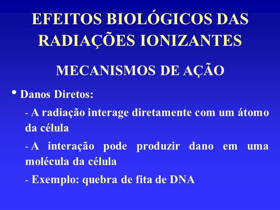 EFEITOS BIOLÓGICOS DAS RADIAÇÕES IONIZANTES CLASSIFICAÇÃO DOS EFEITOS BIOLÓGICOS QUANTO AO TIPO DE CÉLULA ATINGIDA: Efeitos Somáticos: - alterações provocadas pela interação da radiação ionizante com qualquer célula do organismo, exceto as reprodutivas - manifestam-se no próprio indivíduo irradiado - Exemplos: câncer, catarata