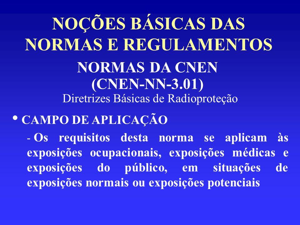NOÇÕES BÁSICAS DAS NORMAS E REGULAMENTOS NORMAS DA CNEN (CNEN-NN-3.01) Diretrizes Básicas de Radioproteção CAMPO DE APLICAÇÃO - Os requisitos desta no