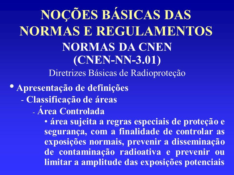 NOÇÕES BÁSICAS DAS NORMAS E REGULAMENTOS NORMAS DA CNEN (CNEN-NN-3.01) Diretrizes Básicas de Radioproteção Apresentação de definições - Classificação
