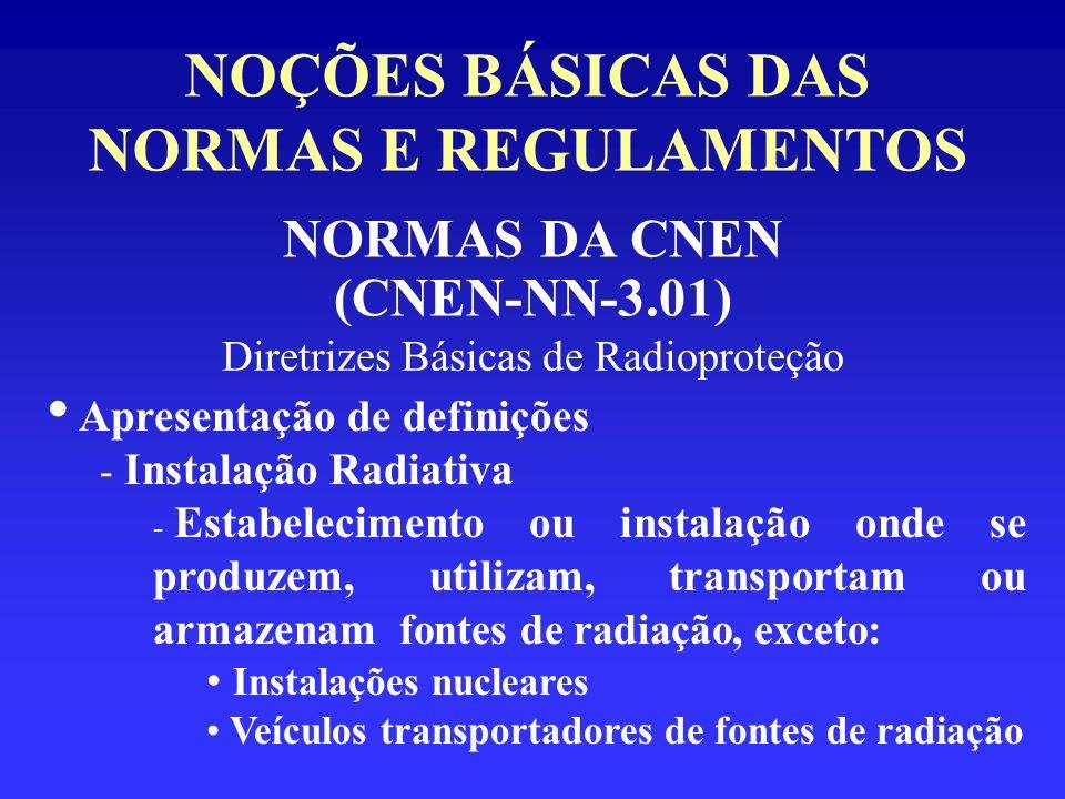 NOÇÕES BÁSICAS DAS NORMAS E REGULAMENTOS NORMAS DA CNEN (CNEN-NN-3.01) Diretrizes Básicas de Radioproteção Apresentação de definições - Instalação Rad