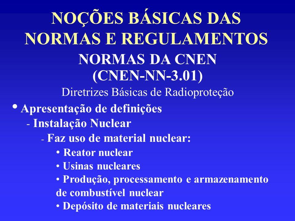 NOÇÕES BÁSICAS DAS NORMAS E REGULAMENTOS NORMAS DA CNEN (CNEN-NN-3.01) Diretrizes Básicas de Radioproteção Apresentação de definições - Instalação Nuc