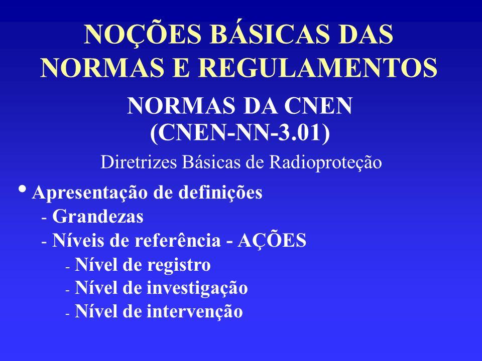 NOÇÕES BÁSICAS DAS NORMAS E REGULAMENTOS NORMAS DA CNEN (CNEN-NN-3.01) Diretrizes Básicas de Radioproteção Apresentação de definições - Grandezas - Ní