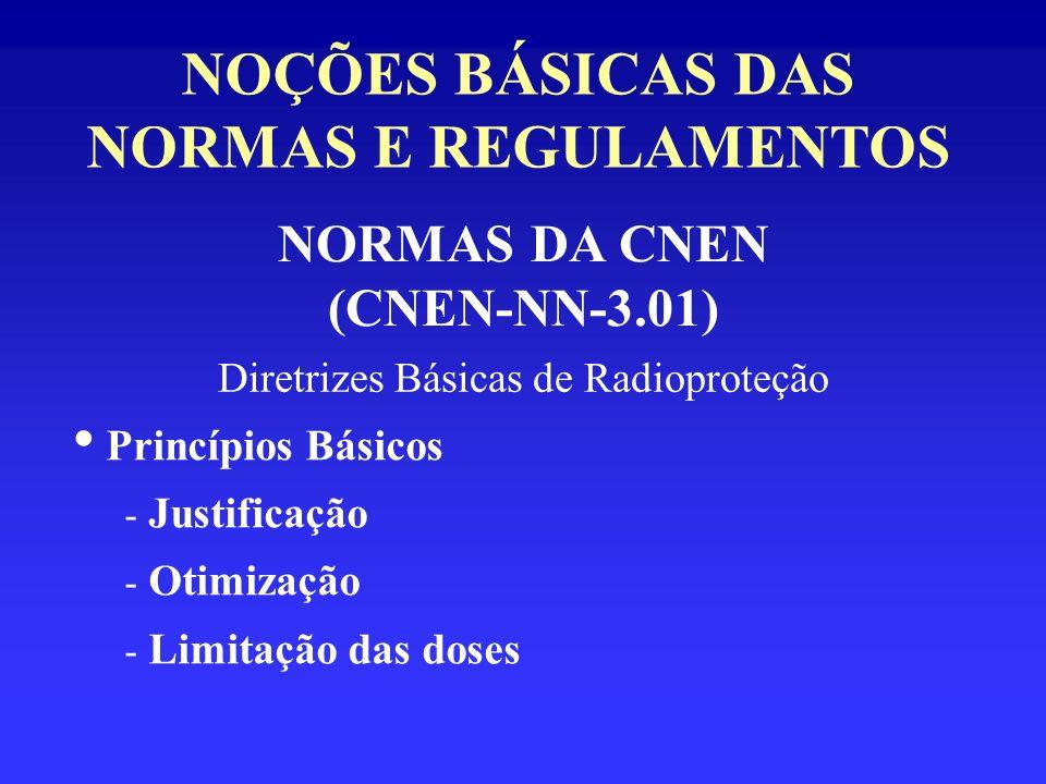 NOÇÕES BÁSICAS DAS NORMAS E REGULAMENTOS NORMAS DA CNEN (CNEN-NN-3.01) Diretrizes Básicas de Radioproteção Princípios Básicos - Justificação - Otimiza
