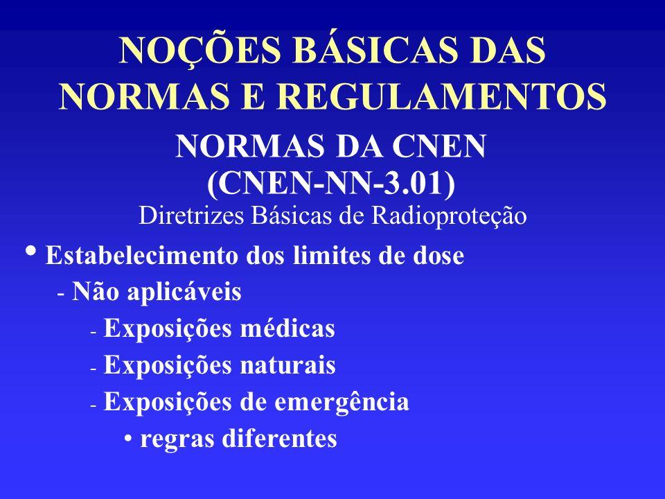 NOÇÕES BÁSICAS DAS NORMAS E REGULAMENTOS NORMAS DA CNEN (CNEN-NN-3.01) Diretrizes Básicas de Radioproteção Estabelecimento dos limites de dose - Não a