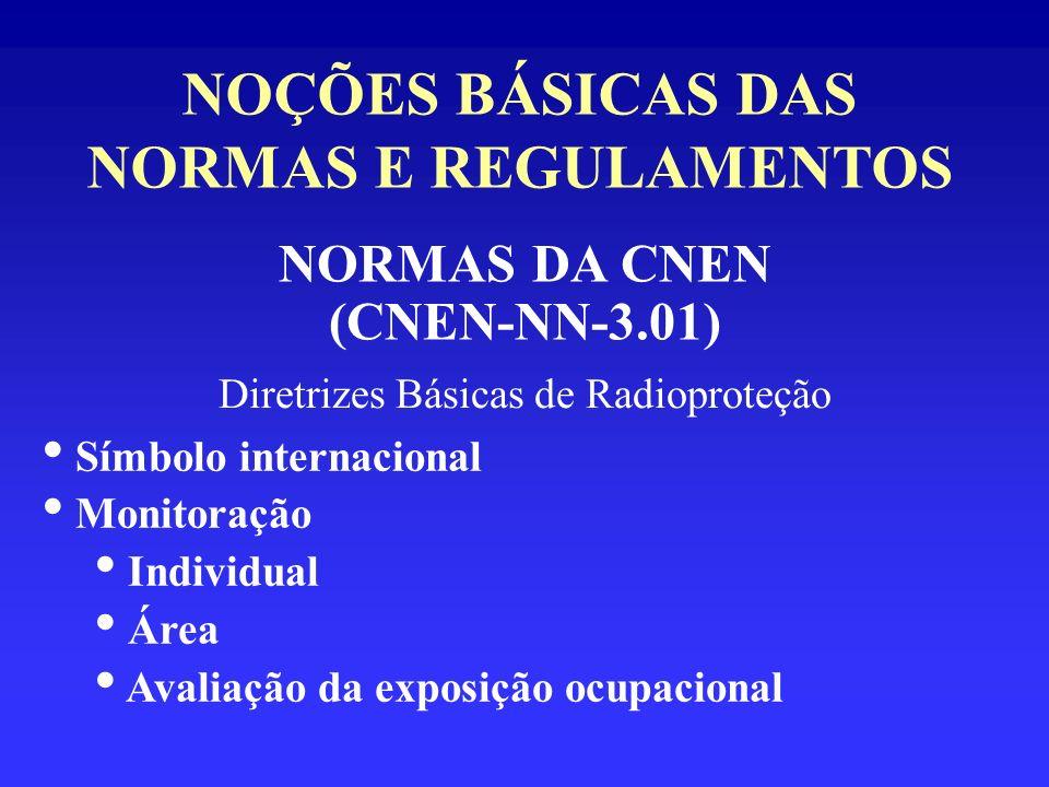 NOÇÕES BÁSICAS DAS NORMAS E REGULAMENTOS NORMAS DA CNEN (CNEN-NN-3.01) Diretrizes Básicas de Radioproteção Símbolo internacional Monitoração Individua