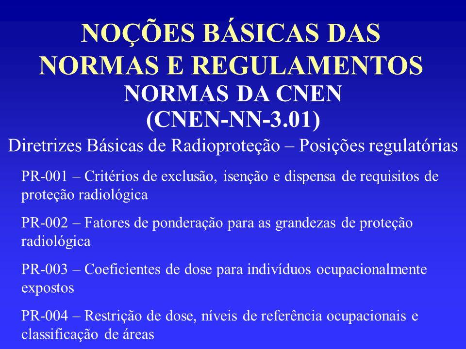 NOÇÕES BÁSICAS DAS NORMAS E REGULAMENTOS NORMAS DA CNEN (CNEN-NN-3.01) Diretrizes Básicas de Radioproteção – Posições regulatórias PR-001 – Critérios