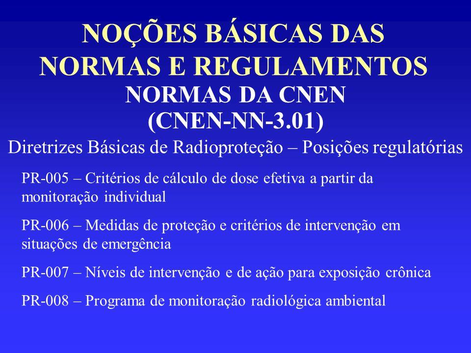NOÇÕES BÁSICAS DAS NORMAS E REGULAMENTOS NORMAS DA CNEN (CNEN-NN-3.01) Diretrizes Básicas de Radioproteção – Posições regulatórias PR-005 – Critérios