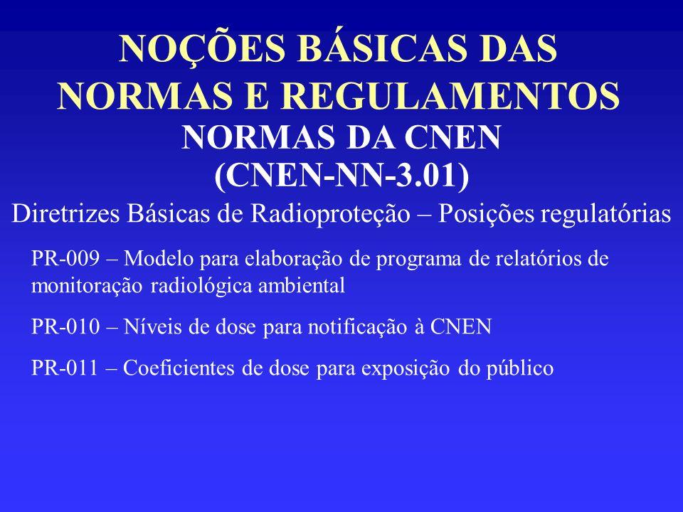 NOÇÕES BÁSICAS DAS NORMAS E REGULAMENTOS NORMAS DA CNEN (CNEN-NN-3.01) Diretrizes Básicas de Radioproteção – Posições regulatórias PR-009 – Modelo par