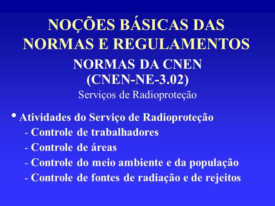 NOÇÕES BÁSICAS DAS NORMAS E REGULAMENTOS NORMAS DA CNEN (CNEN-NE-3.02) Serviços de Radioproteção Atividades do Serviço de Radioproteção - Controle de